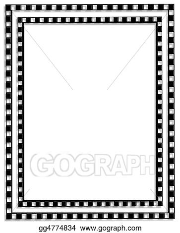 Stock Illustration Checkered Border Black And White Clipart Rh Gograph Com Flag For Word Checkerboard Clip Art