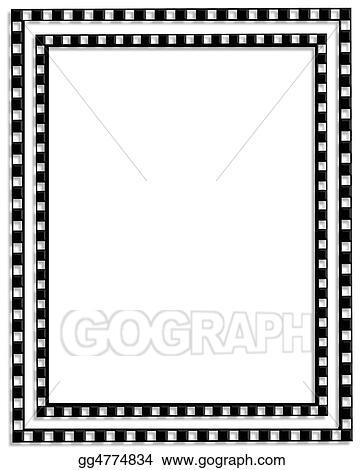 Stock Illustration Checkered Border Black And White Clipart
