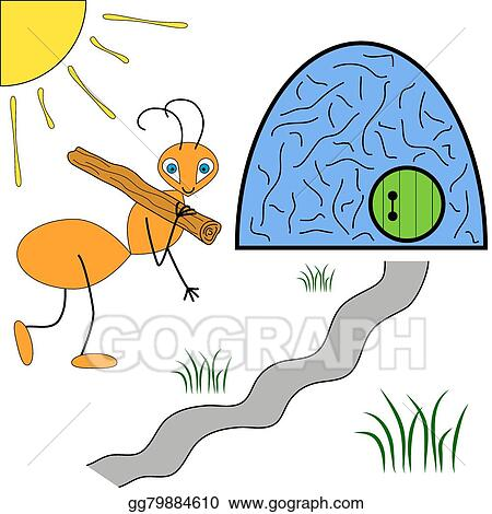 Vector Art - Cheerful ant carries a stick into an anthill