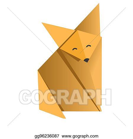 Eps Illustration Cheerful Fox Origami Vector Clipart Gg96236087