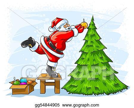 Drawings Cheerful Santa Claus Decorating Christmas Tree Stock