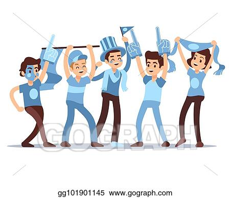 Vector Art Cheering Sports Fans Vector Cartoon People Characters Sports Team Victory Concept Eps Clipart Gg101901145 Gograph