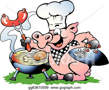 eps illustration chef pig standing and making bbq vector clipart rh gograph com Chef Pig Drawings Pig Wearing Chef Hat Clip Art