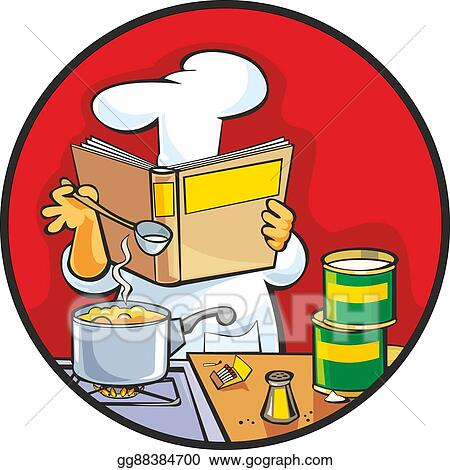 vector art chef preparing soup and reading recipe cookbook rh gograph com