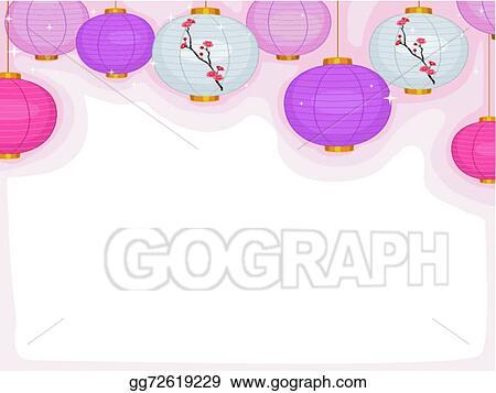 Vector Art - Cherry blossoms lantern  Clipart Drawing gg72619229