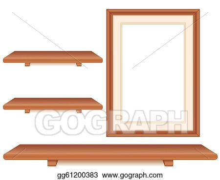 Vector Clipart Cherry Wood Shelves Picture Frame Vector