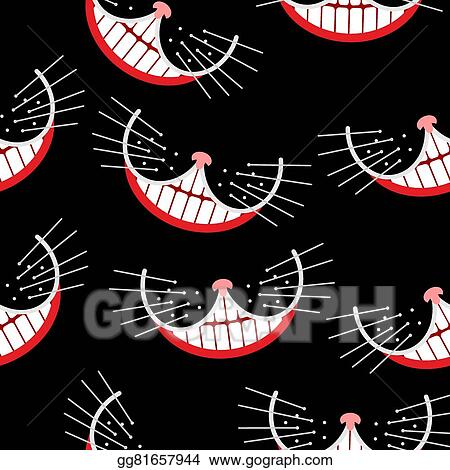 Cheshire Cat Smile Seamless Pattern Vector Background
