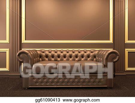 Clip Art - Chesterfield modern sofa in wooden interior with gold ...