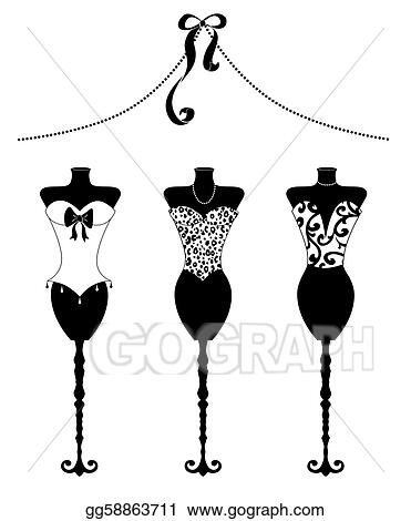 Clip Art - Chic fashion dress forms with bustiers black and white ... 30f2f9ccece