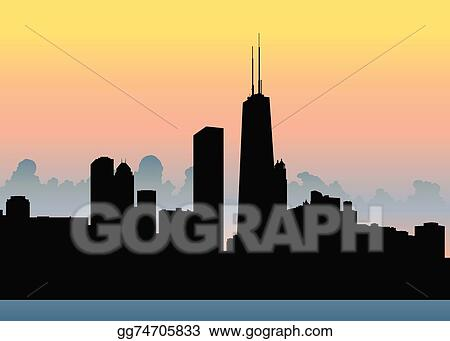 vector illustration chicago skyline eps clipart gg74705833 gograph