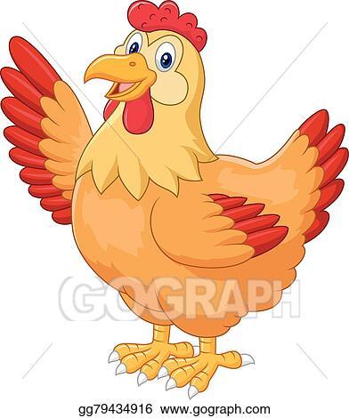 Chicken hen. Eps illustration waving hand