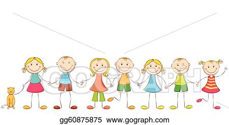 vector clipart child holding hands vector illustration gg60875875 rh gograph com Holding Hands Cartoon Holding Hands Black and White