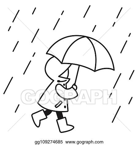 Eps Vector Child In The Rain Drawing Stock Clipart Illustration