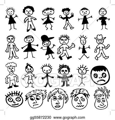 eps illustration child like drawings of cartoon stick people