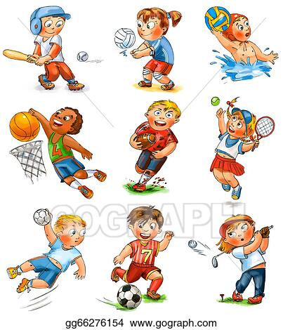 Stock Illustration - Child partition in sports. hand-drawn ... on