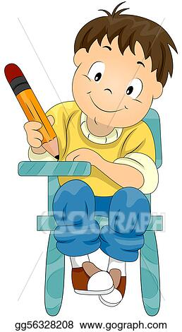 stock illustration child writing clipart gg56328208 gograph rh gograph com child writing clipart black and white Student Writing Clip Art