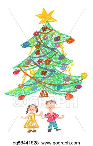 Stock Illustration Children And Christmas Tree Drawing Clip Art