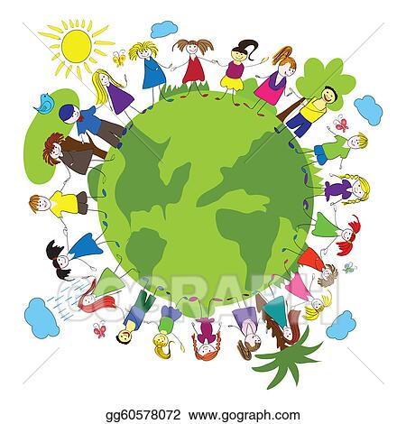 Vector Art Children And Green Planet Clipart Drawing Gg60578072