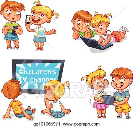 Vector Illustration Children And Technical Progress Funny Cartoon Character Stock Clip Art Gg101065971 Gograph