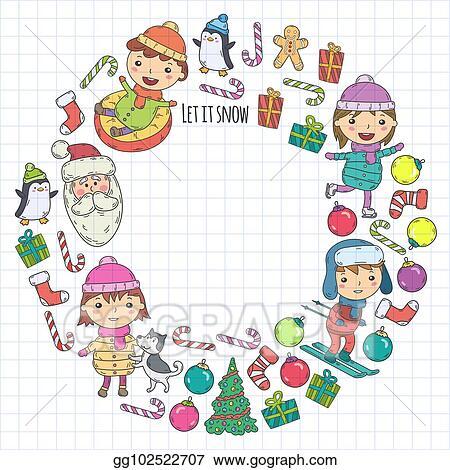 Eps Illustration Children And Winter Games Ski Sledge Ice