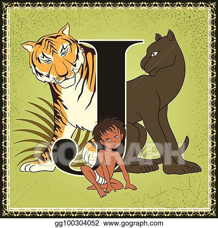 Vector Illustration Children Book Cartoon Fairytale Alphabet Letter J The Jungle Book By Rudyard Kipling Stock Clip Art Gg100304052 Gograph