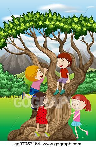 Vector Illustration Children Climbing Tree In The Park Eps
