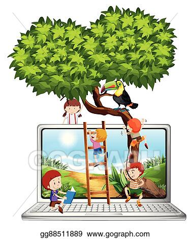 Vector Illustration Children Climbing Tree On Computer Screen Stock Clip Art Gg88511889 Gograph Html5 available for mobile devices. gograph