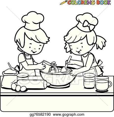 Vector Stock Children cooking coloring page Stock Clip Art