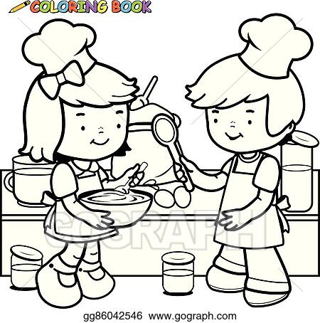 Vector Clipart Children Cooking In The Kitchen Vector Black And White Coloring Page Vector Illustration Gg86042546 Gograph