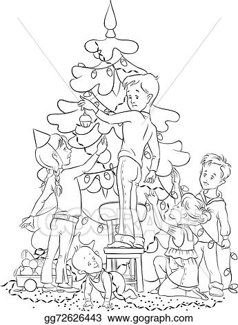 Black People Decorating For Christmas vector illustration - children decorating christmas tree. stock