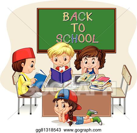 vector art children doing school work in classroom eps clipart rh gograph com school teamwork clipart Good Work Clip Art