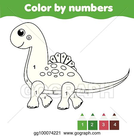Children Educational Game Coloring Page With Cute Dinosaur Color By Numbers Printable Activity