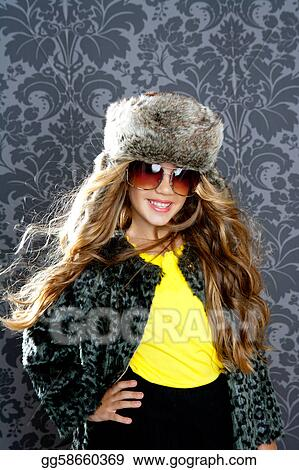 ae01fa400 Pictures - Children fashion blond girl with fur winter coat and hat ...