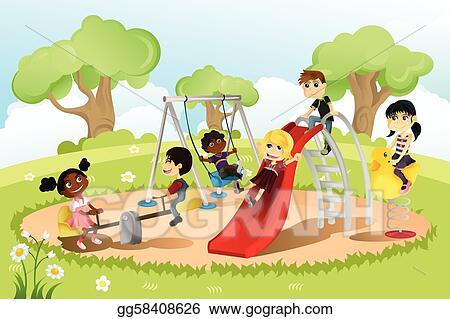kids playing on playground cartoon