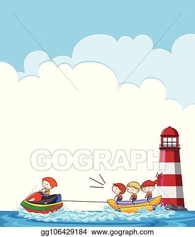 vector art children on banana boat template eps clipart