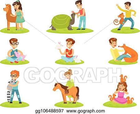 Clip Art Vector Children Petting The Small Animals In Petting Zoo