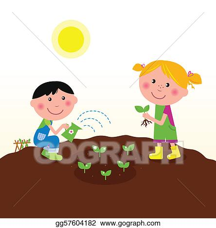 Flowers Garden Vector; Children Planting Plants In Garden