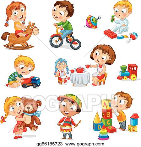 Vector Stock Children Play With Toys Clipart Illustration