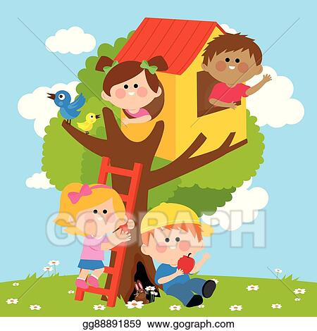Vector Stock Children Playing In A Tree House Clipart
