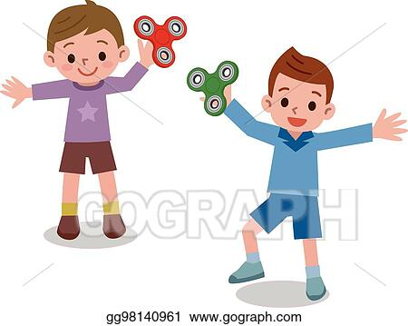 Vector Stock Children Playing In Hand Spinner Toys Stock Clip Art