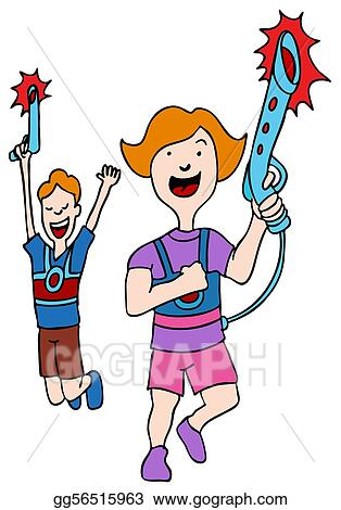 clip art children playing laser tag stock illustration gg56515963 rh gograph com Laser Tag Cartoons Laser Tag Cookies