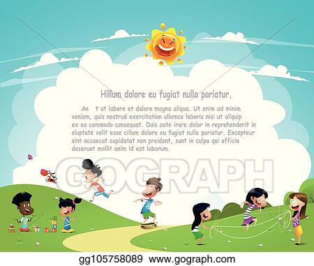 Vector Art Children Playing Outside Clipart Drawing Gg105758089 Gograph