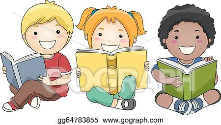 vector clipart children reading books vector illustration rh gograph com Comfortable Chair and Book child reading a book clipart black and white