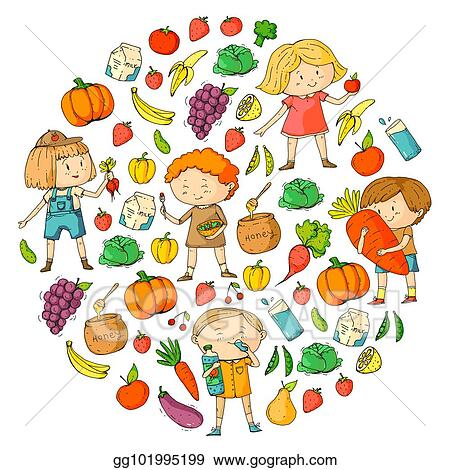 Vector Art Children School And Kindergarten Healthy Food And Drinks Kids Cafe Fruits And Vegetables Boys And Girls Eat Healthy Food And Snacks Vector Doodle Preschool Pattern With Cartoons Kids Drawing