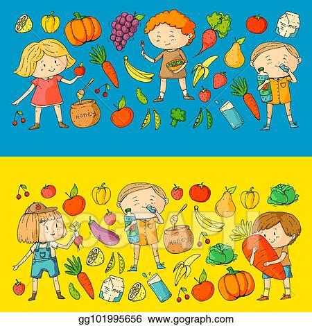 Vector Art - Children  school and kindergarten  healthy food