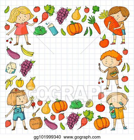 Vector Art Children School And Kindergarten Healthy Food