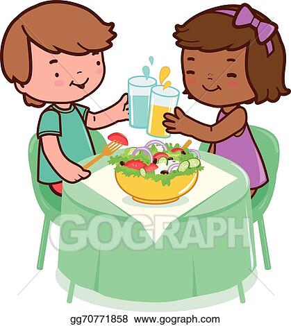 Vector Clipart Children Sitting O A Table And Eating Healthy Food Vector Illustration Vector Illustration Gg70771858 Gograph