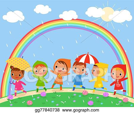 Vector Art Children Walk On A Beautiful Rainy Day Clipart