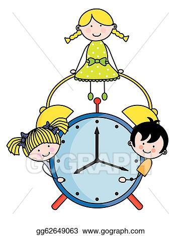 vector art children with an alarm clock clipart drawing rh gograph com