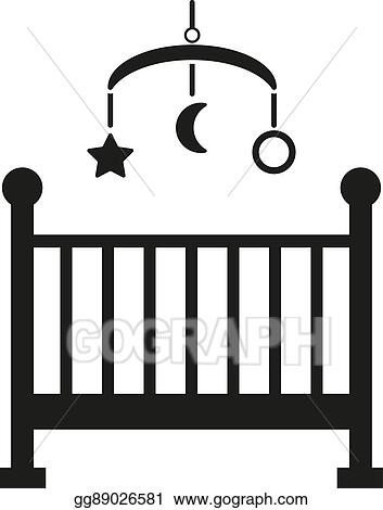 Vector Illustration Childrens Bed Icon Baby Bed Design Cradle